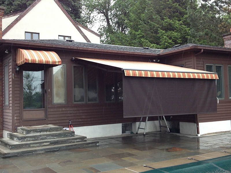 Waterfalls & Retractable Awing with Drop Valance